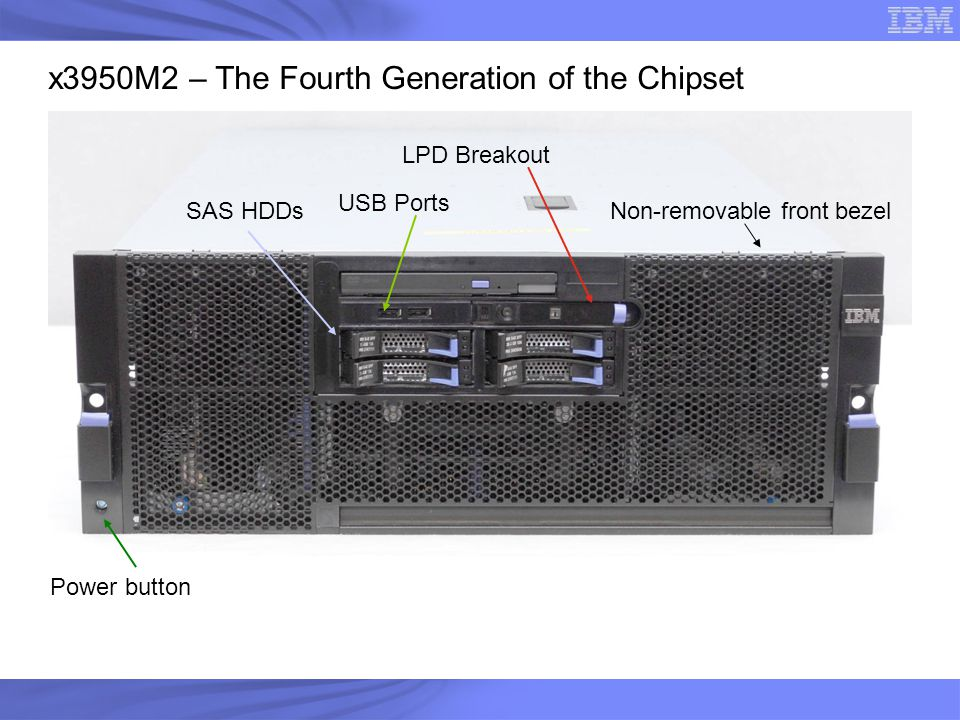 Power button SAS HDDs LPD Breakout Non-removable front bezel USB Ports x3950M2 – The Fourth Generation of the Chipset