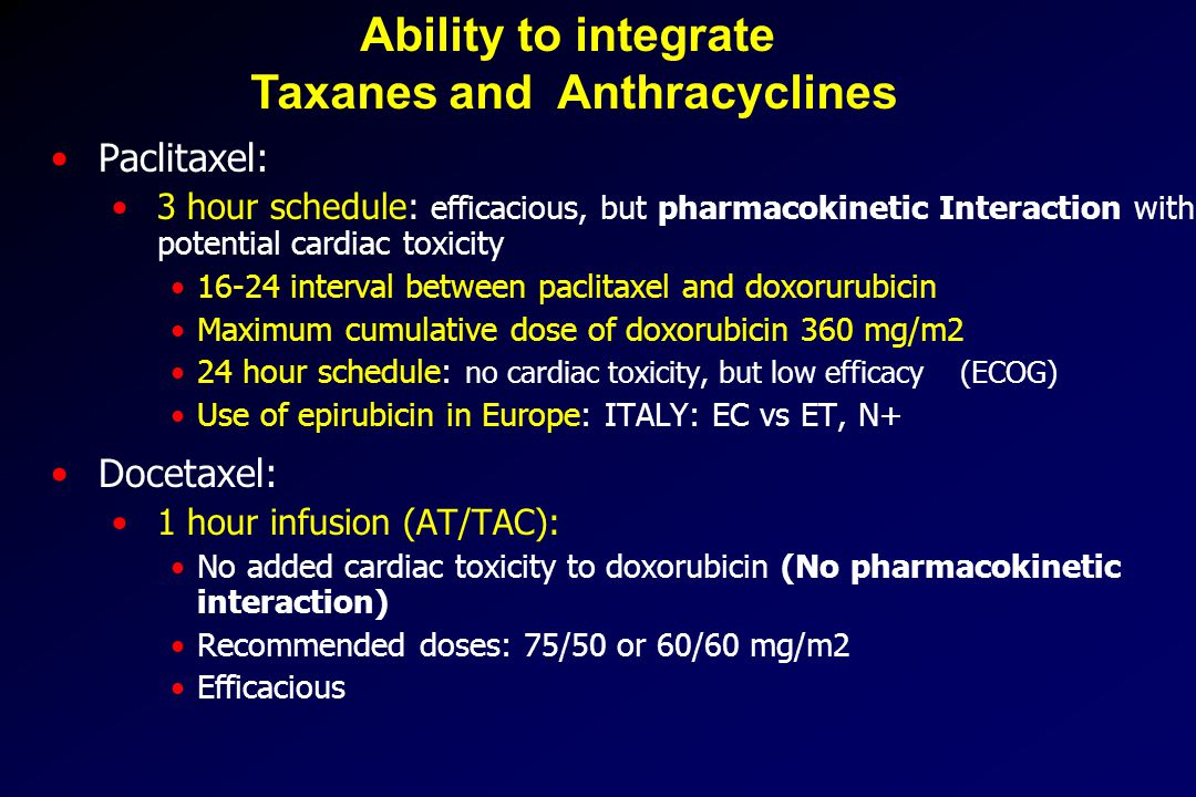 Paclitaxel: 3 hour schedule: efficacious, but pharmacokinetic Interaction with potential cardiac toxicity 16-24 interval between paclitaxel and doxorurubicin Maximum cumulative dose of doxorubicin 360 mg/m2 24 hour schedule: no cardiac toxicity, but low efficacy (ECOG) Use of epirubicin in Europe: ITALY: EC vs ET, N+ Docetaxel: 1 hour infusion (AT/TAC): No added cardiac toxicity to doxorubicin (No pharmacokinetic interaction) Recommended doses: 75/50 or 60/60 mg/m2 Efficacious Ability to integrate Taxanes and Anthracyclines