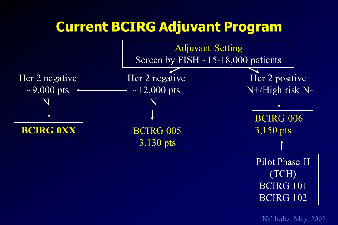 Current BCIRG Adjuvant Program Adjuvant Setting Screen by FISH ~15-18,000 patients Her 2 negative ~12,000 pts N+ Her 2 positive N+/High risk N- BCIRG 006 3,150 pts BCIRG 005 3,130 pts Her 2 negative ~9,000 pts N- Pilot Phase II (TCH) BCIRG 101 BCIRG 102 BCIRG 0XX Nabholtz; May, 2002