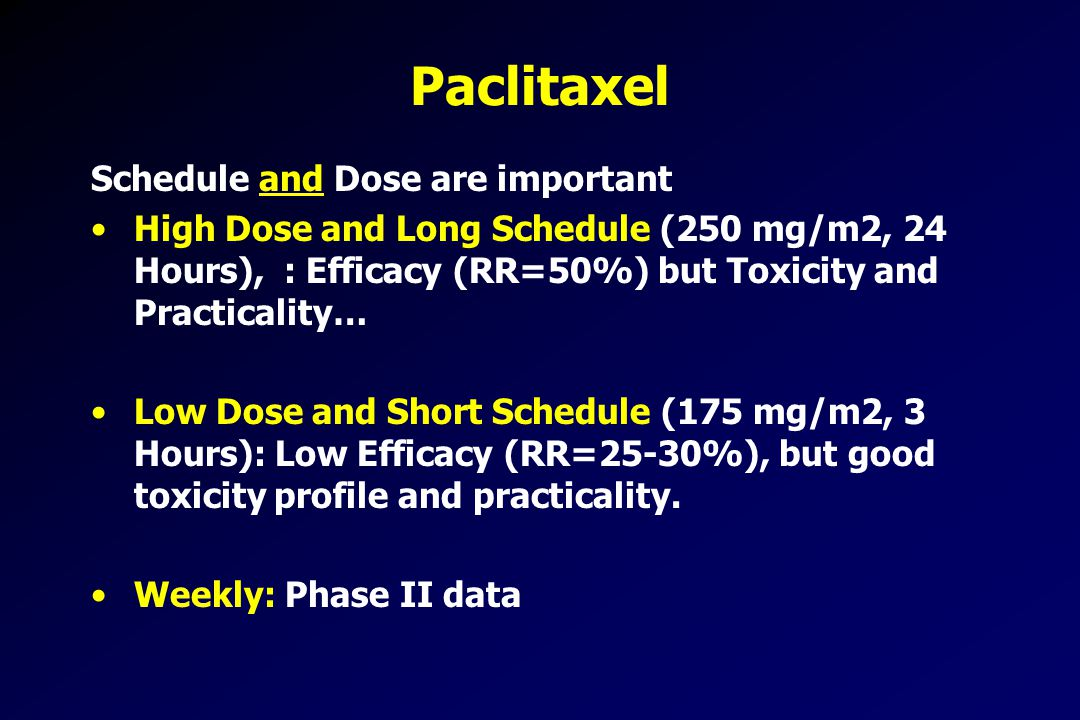 Paclitaxel Schedule and Dose are important High Dose and Long Schedule (250 mg/m2, 24 Hours), : Efficacy (RR=50%) but Toxicity and Practicality… Low Dose and Short Schedule (175 mg/m2, 3 Hours): Low Efficacy (RR=25-30%), but good toxicity profile and practicality.