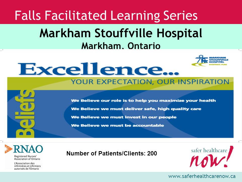 www.saferhealthcarenow.ca Falls Facilitated Learning Series AIM To learn and integrate strategies of sustainability into our organization's falls improvement plans to ensure we increase the likelihood of sustaining practice change for prevention of falls and injury reduction while holding the gains over time.