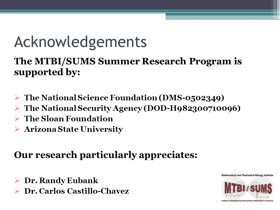 Acknowledgements The MTBI/SUMS Summer Research Program is supported by:  The National Science Foundation (DMS-0502349)  The National Security Agency (DOD-H982300710096)  The Sloan Foundation  Arizona State University Our research particularly appreciates:  Dr.
