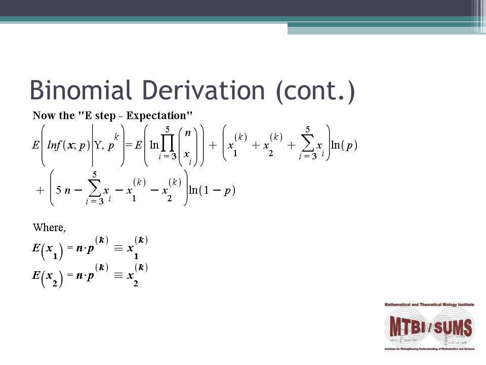 Binomial Derivation (cont.)