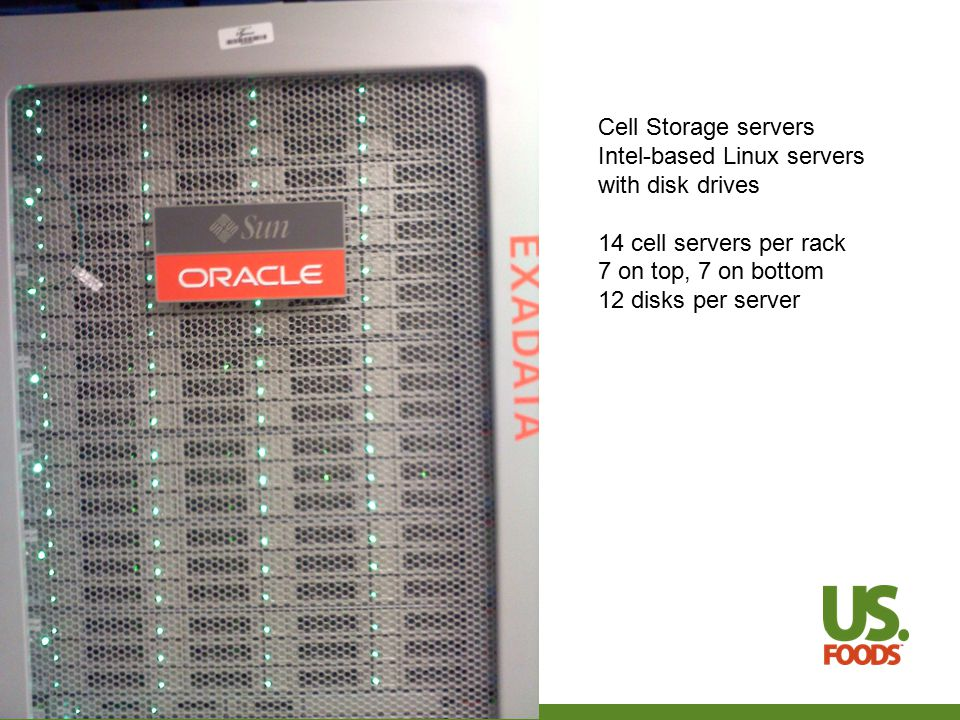 More observations about the three server types DB server with SAN differs from full Exadata system Full database blocks copied over SAN network Results only copied over Exadata network Database server caches blocks from SAN Database server does not cache results from cell server Exadata Smart Scan can be turned off Without Smart Scan Exadata works just like DB server with SAN