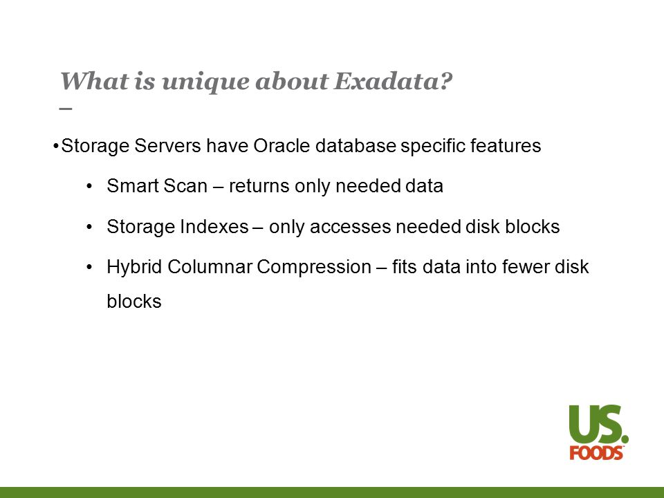Moving an existing application to Exadata Try these options and see which is faster: Indexes visible or invisible optimizer_index_cost_adj normal (100) or high (> 100) CELL_OFFLOAD_PROCESSING=FALSE or TRUE All of these options can be tested without changing the application