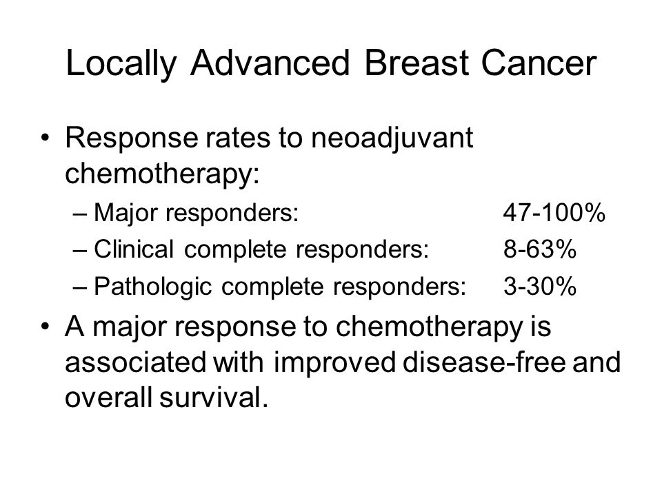 Locally Advanced Breast Cancer Hormonal Management, continued: Rate of pathologic complete response is greatly diminished.