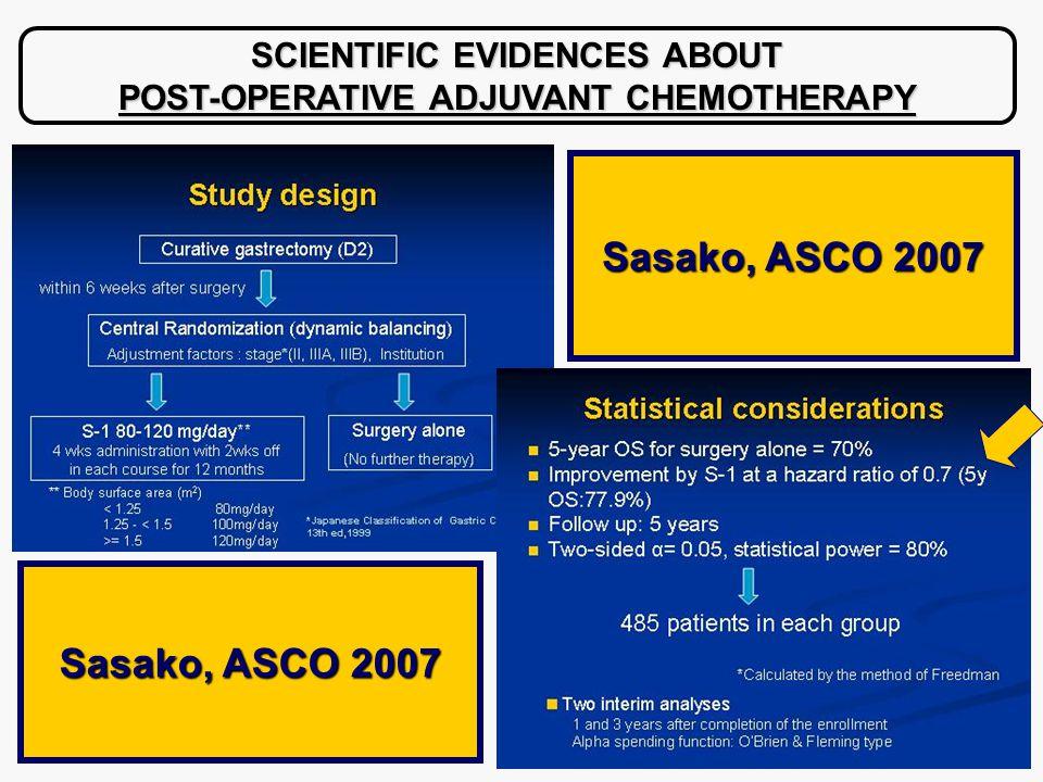 SCIENTIFIC EVIDENCES ABOUT POST-OPERATIVE ADJUVANT CHEMOTHERAPY Sasako, ASCO 2007