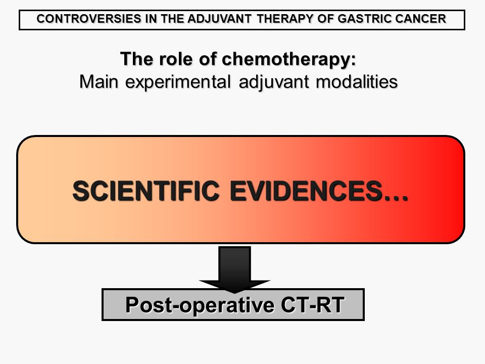 SCIENTIFIC EVIDENCES… CONTROVERSIES IN THE ADJUVANT THERAPY OF GASTRIC CANCER The role of chemotherapy: Main experimental adjuvant modalities Post-operative CT-RT