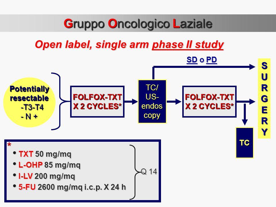 Potentiallyresectable -T3-T4 -T3-T4 - N + FOLFOX-TXT X 2 CYCLES* FOLFOX-TXT SURGERY SD o PD SD o PD TC TXT 50 mg/mq TXT 50 mg/mq L-OHP 85 mg/mq L-OHP 85 mg/mq I-LV 200 mg/mq I-LV 200 mg/mq 5-FU 2600 mg/mq i.c.p.