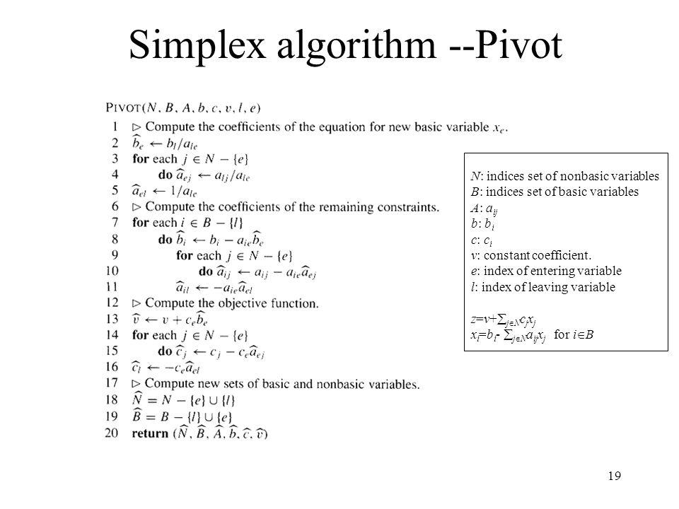 19 Simplex algorithm --Pivot N: indices set of nonbasic variables B: indices set of basic variables A: a ij b: b i c: c i v: constant coefficient. e: