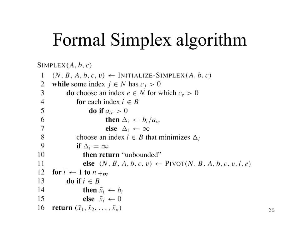 20 Formal Simplex algorithm +m+m