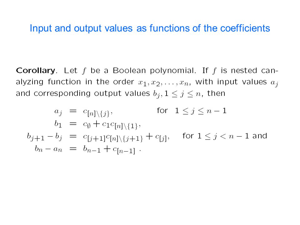 Input and output values as functions of the coefficients