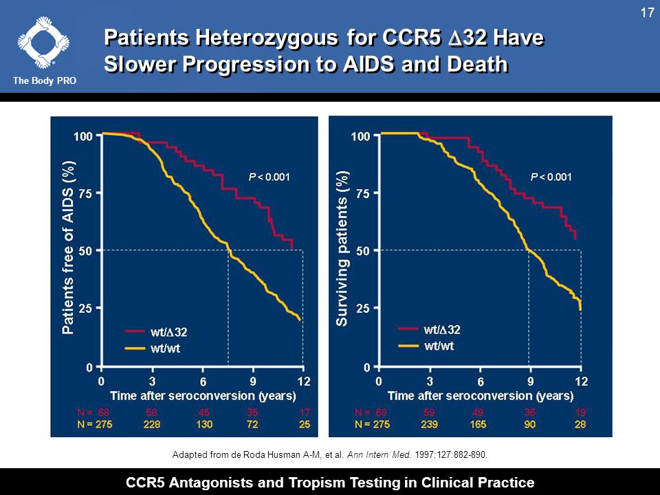 The Body PRO CCR5 Antagonists and Tropism Testing in Clinical Practice 17  Patients Heterozygous for CCR5  32 Have Slower Progression to AIDS and De