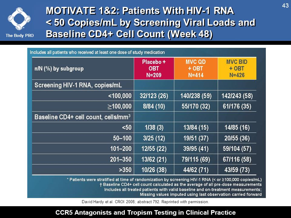 The Body PRO CCR5 Antagonists and Tropism Testing in Clinical Practice 43 MOTIVATE 1&2: Patients With HIV-1 RNA < 50 Copies/mL by Screening Viral Load
