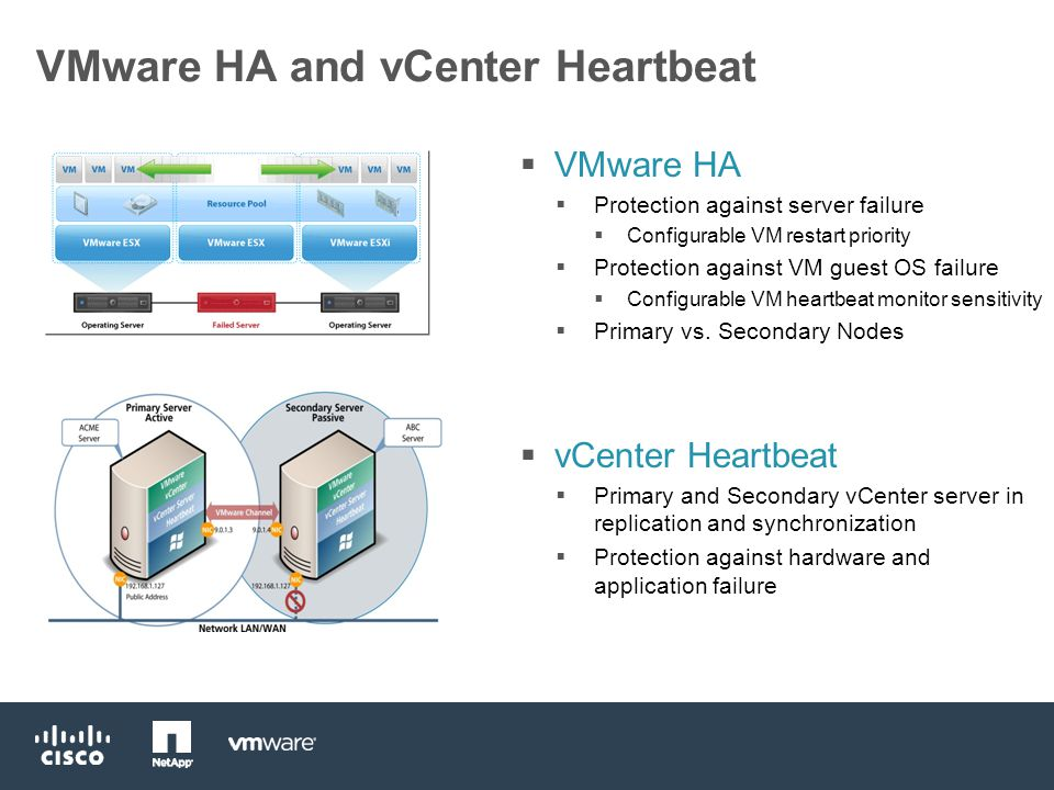 VMware HA and vCenter Heartbeat  VMware HA  Protection against server failure  Configurable VM restart priority  Protection against VM guest OS failure  Configurable VM heartbeat monitor sensitivity  Primary vs.