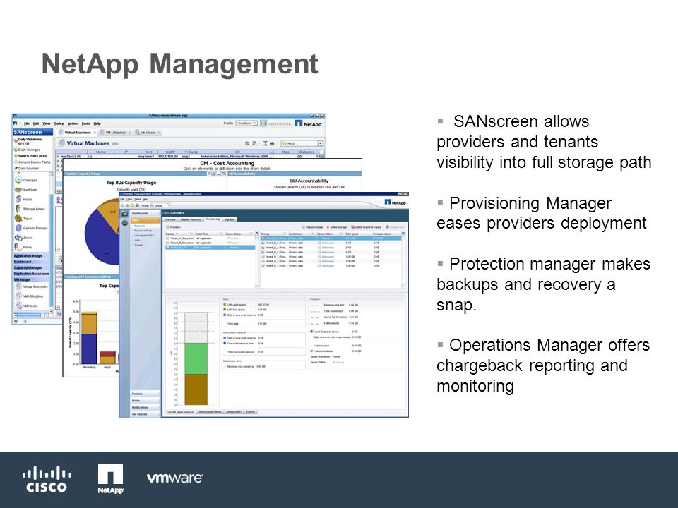 NetApp Management  SANscreen allows providers and tenants visibility into full storage path  Provisioning Manager eases providers deployment  Protection manager makes backups and recovery a snap.