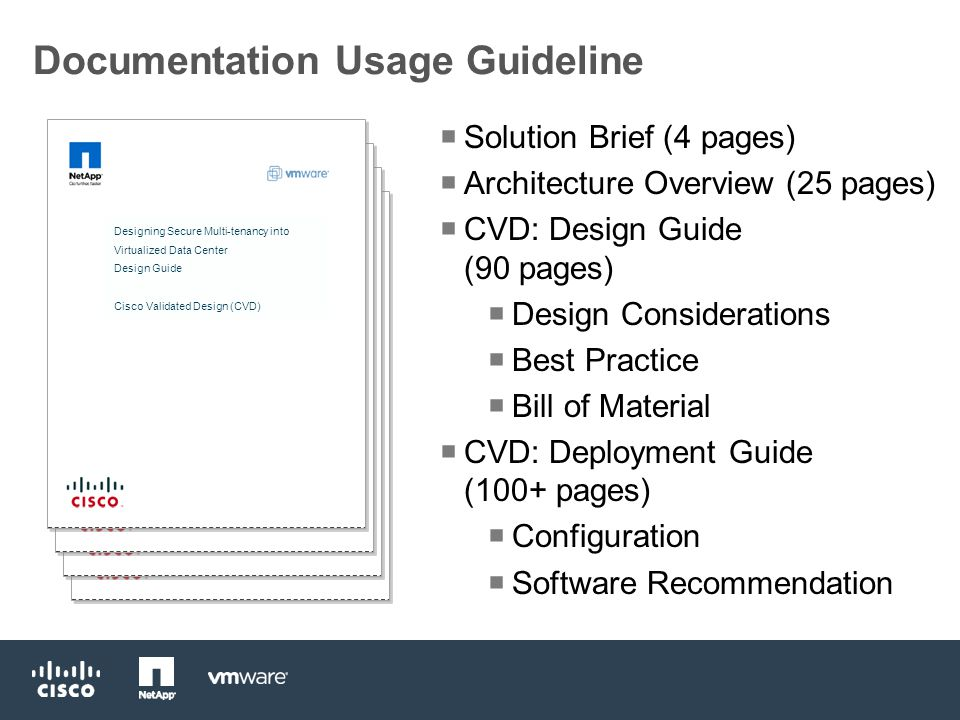 Documentation Usage Guideline Designing Secure Multi-tenancy into Virtualized Data Center Design Guide Cisco Validated Design (CVD)  Solution Brief (4 pages)  Architecture Overview (25 pages)  CVD: Design Guide (90 pages)  Design Considerations  Best Practice  Bill of Material  CVD: Deployment Guide (100+ pages)  Configuration  Software Recommendation