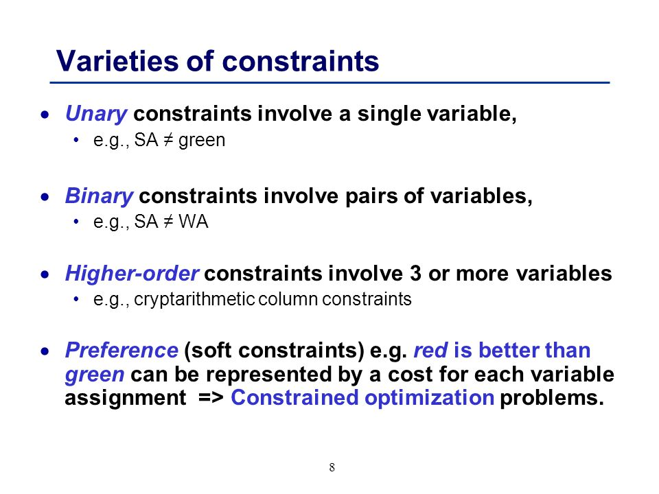 49 Summary  CSPs are a special kind of problem: states defined by values of a fixed set of variables goal test defined by constraints on variable values  Backtracking = depth-first search with one variable assigned per node  Variable ordering and value selection heuristics help significantly  Forward checking prevents assignments that guarantee later failure  Constraint propagation (e.g., arc consistency) additionally constrains values and detects inconsistencies  Iterative min-conflicts is usually effective in practice