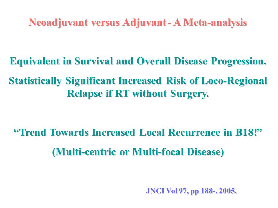 Neoadjuvant versus Adjuvant- A Meta-analysis Equivalent in Survival and Overall Disease Progression. Statistically Significant Increased Risk of Loco-
