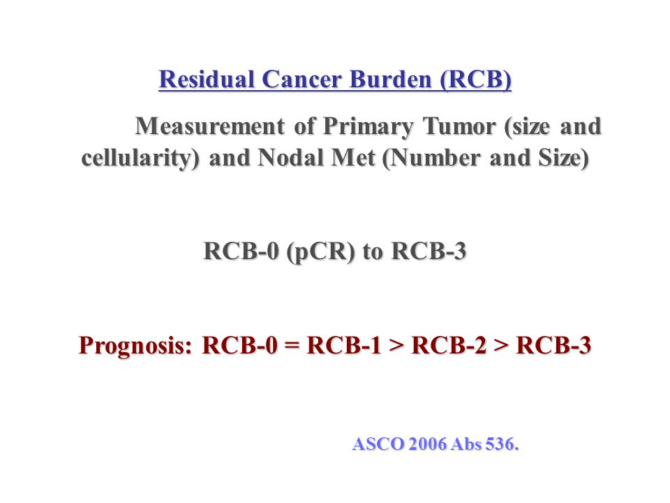 Residual Cancer Burden (RCB) Measurement of Primary Tumor (size and cellularity) and Nodal Met (Number and Size) RCB-0 (pCR) to RCB-3 Prognosis: RCB-0
