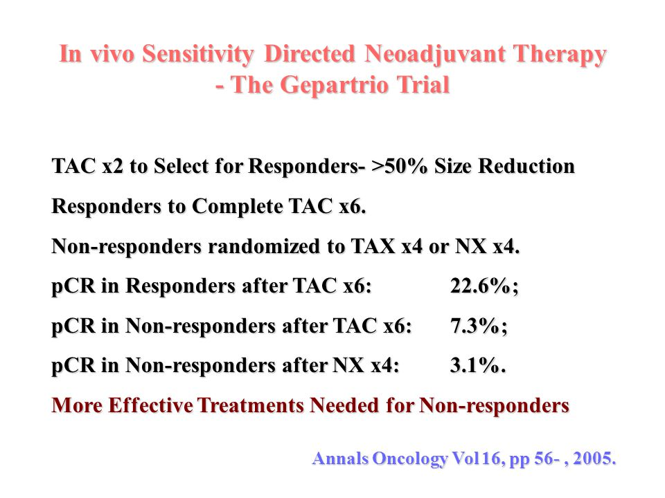 In vivo Sensitivity Directed Neoadjuvant Therapy - The Gepartrio Trial TAC x2 to Select for Responders- >50% Size Reduction Responders to Complete TAC
