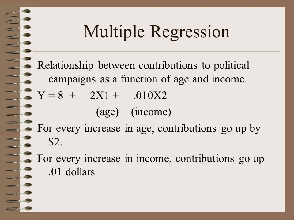 Multiple Regression Relationship between contributions to political campaigns as a function of age and income. Y = 8 + 2X1 +.010X2 (age) (income) For