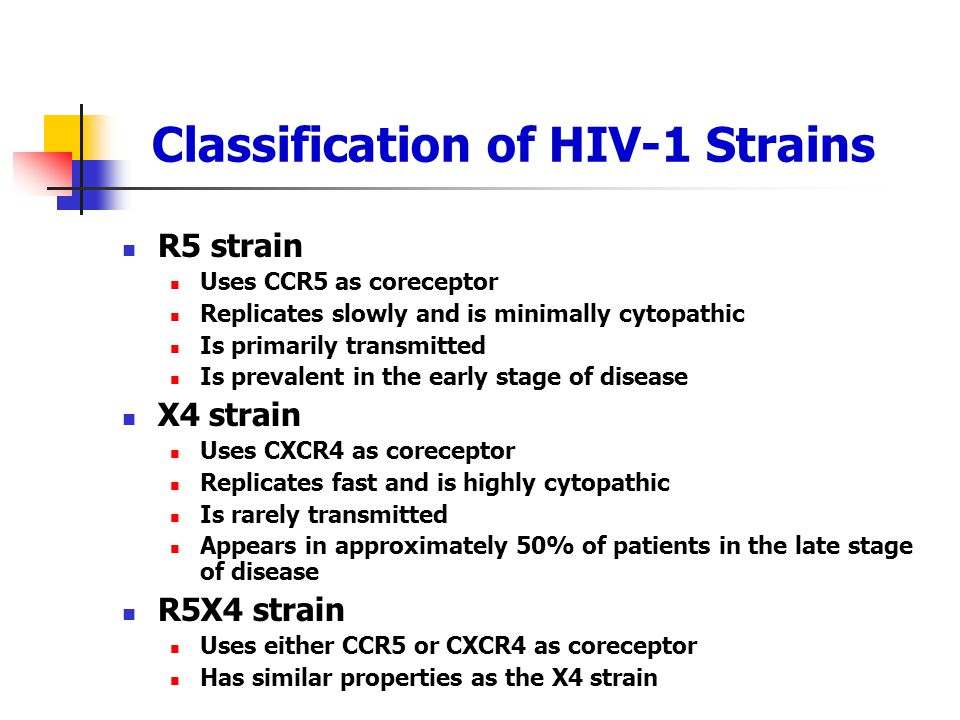 Classification of HIV-1 Strains R5 strain Uses CCR5 as coreceptor Replicates slowly and is minimally cytopathic Is primarily transmitted Is prevalent
