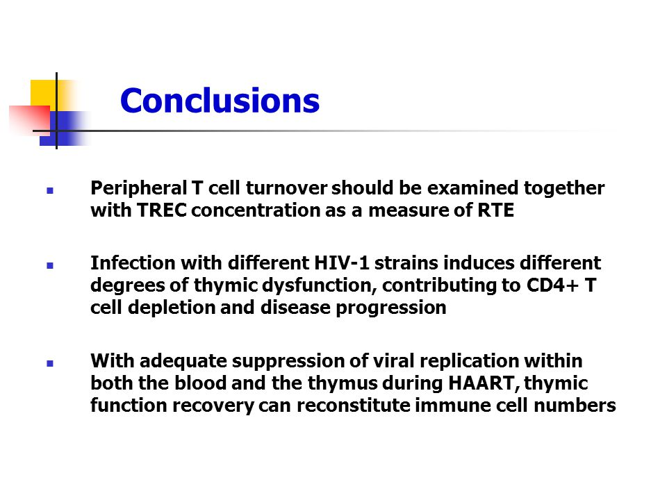 Conclusions Peripheral T cell turnover should be examined together with TREC concentration as a measure of RTE Infection with different HIV-1 strains