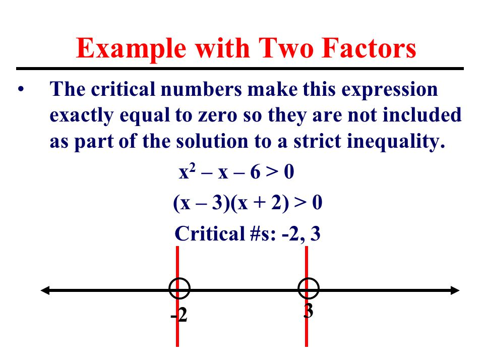 Example with Two Factors The critical numbers make this expression exactly equal to zero so they are not included as part of the solution to a strict inequality.