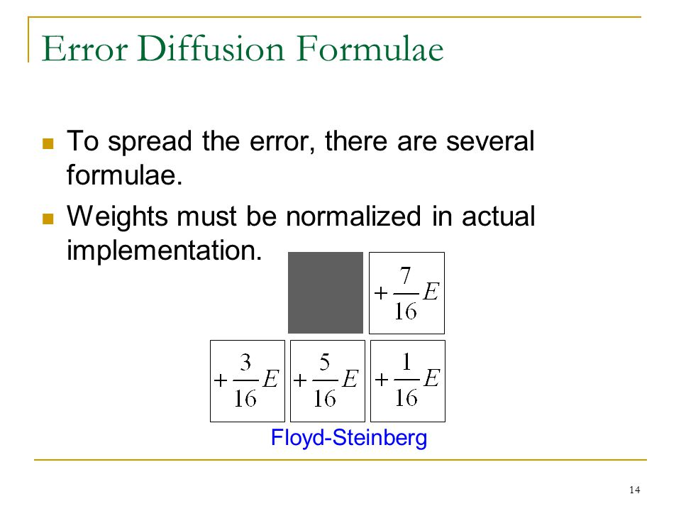 14 Error Diffusion Formulae To spread the error, there are several formulae. Weights must be normalized in actual implementation. Floyd-Steinberg