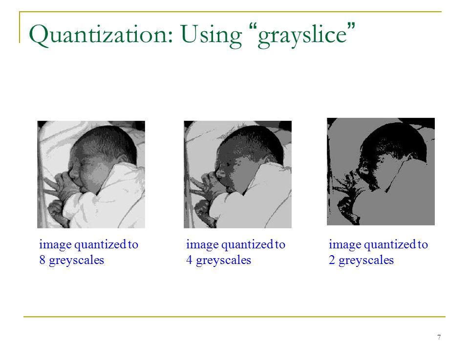 "7 Quantization: Using "" grayslice "" image quantized to 8 greyscales image quantized to 4 greyscales image quantized to 2 greyscales"