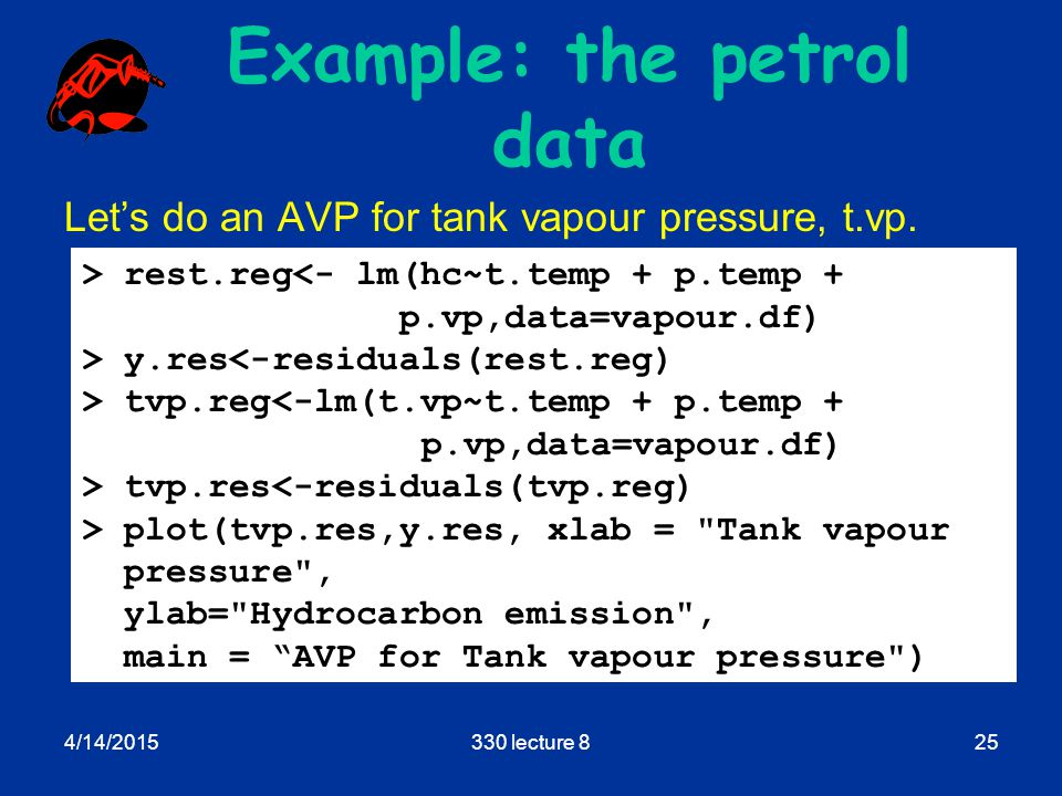 4/14/2015330 lecture 825 Example: the petrol data Let's do an AVP for tank vapour pressure, t.vp.