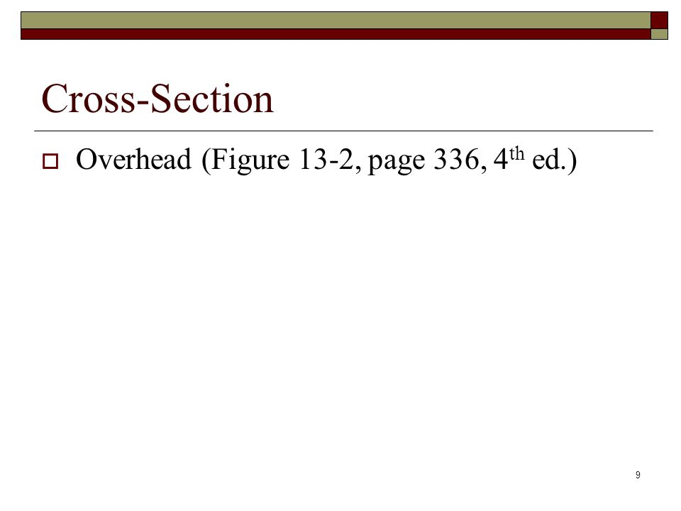9 Cross-Section  Overhead (Figure 13-2, page 336, 4 th ed.)