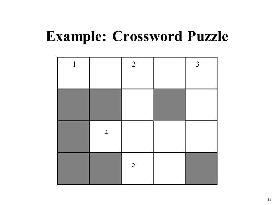 14 Example: Crossword Puzzle 123 4 5