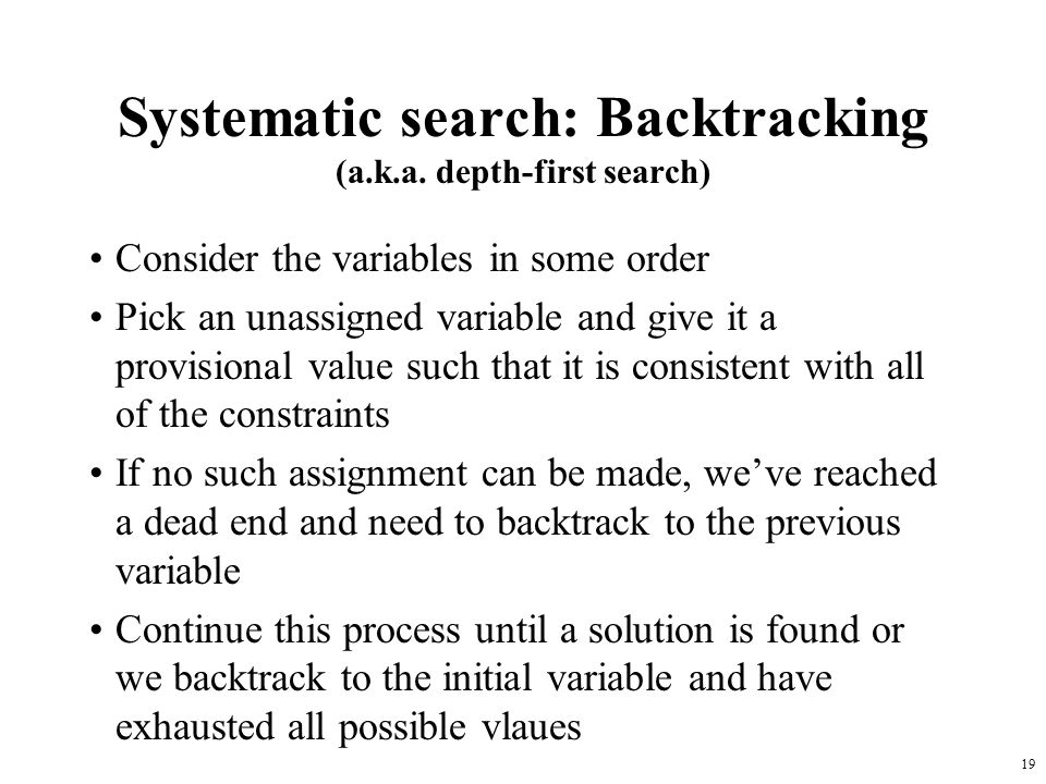 19 Systematic search: Backtracking (a.k.a.