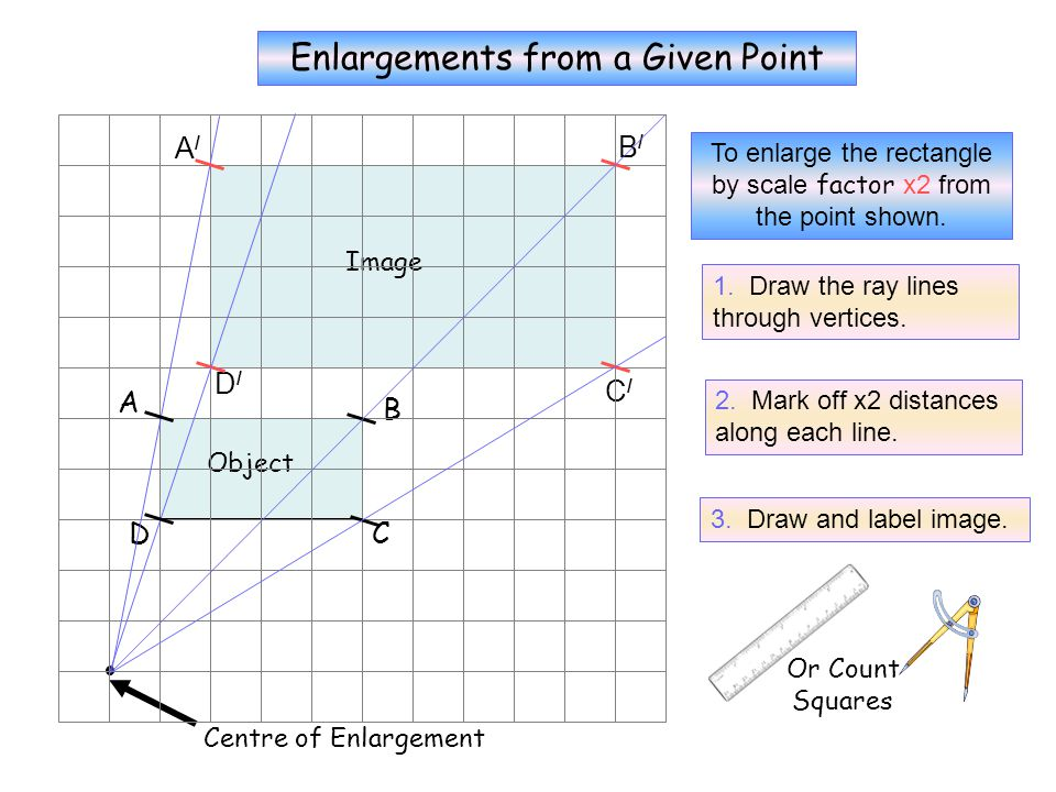 Fractional Enlargements from a Given Point B A D C Or Count Squares To enlarge the rectangle by scale factor x 1/3 from the point shown.