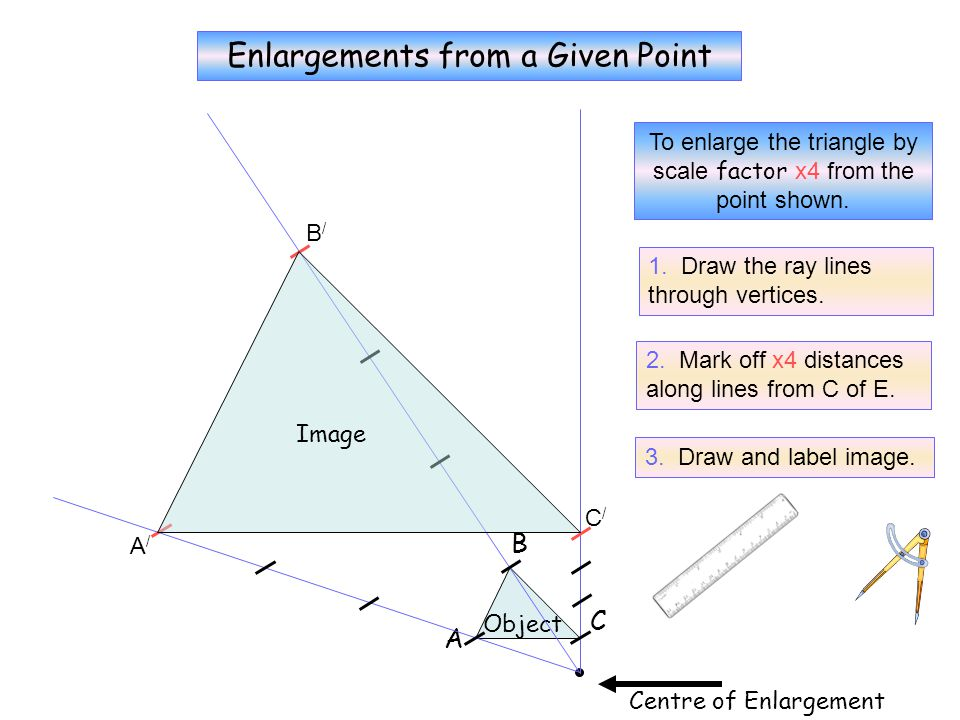 D To enlarge the kite by scale factor x3 from the point shown. Centre of Enlargement Object A B C Image A/A/ B/B/ C/C/ D/D/ Enlargements from a Given