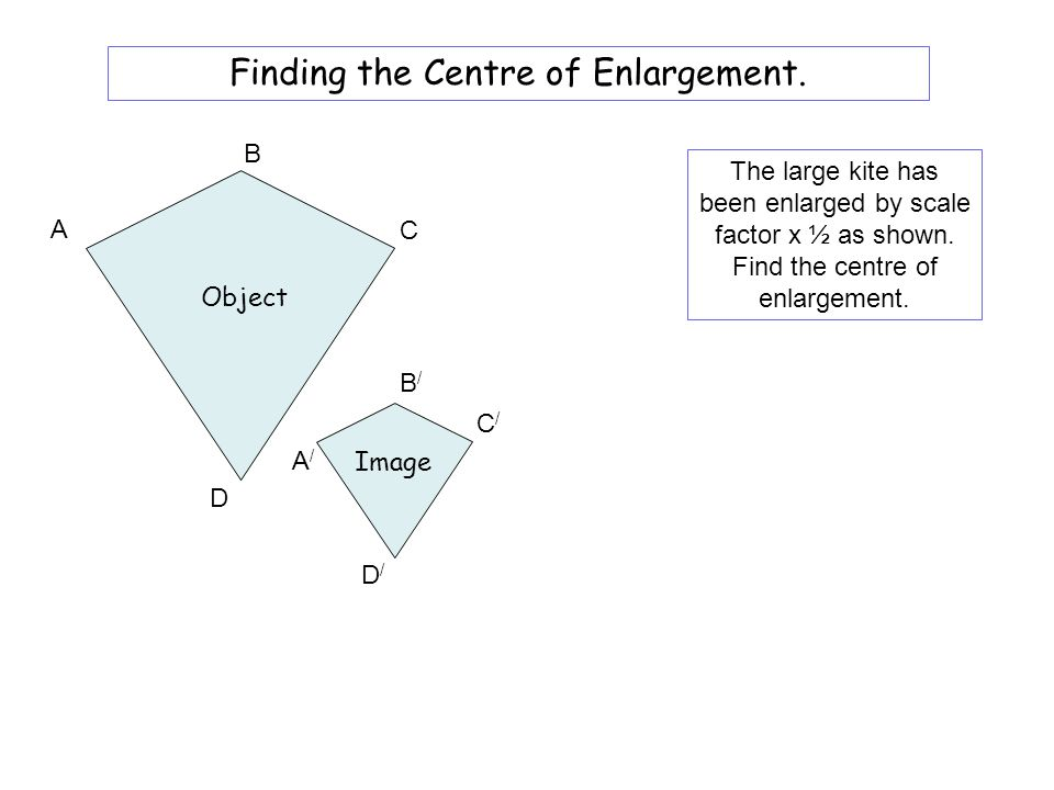 B/B/ A/A/ D/D/ C/C/ Image D A B C Object The small kite has been enlarged as shown. Find the centre of enlargement. Finding the Centre of Enlargement