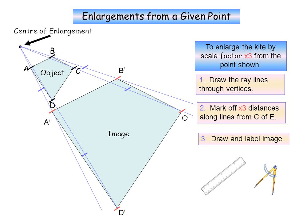 To enlarge the rectangle by scale factor x2 from the point shown. Centre of Enlargement Object A B C D Image A/A/ B/B/ C/C/ D/D/ Enlargements from a G