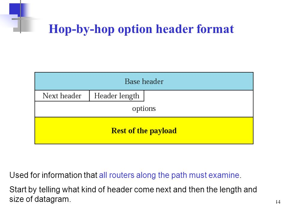 44 Hop-by-hop option header format Used for information that all routers along the path must examine. Start by telling what kind of header come next a