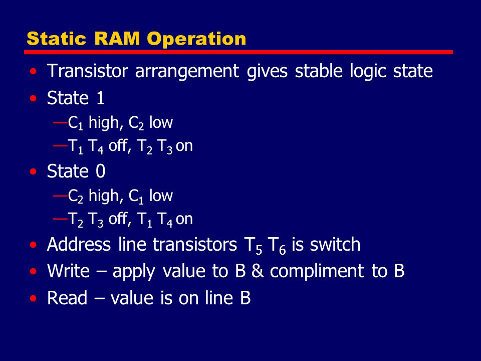 Static RAM Operation Transistor arrangement gives stable logic state State 1 —C 1 high, C 2 low —T 1 T 4 off, T 2 T 3 on State 0 —C 2 high, C 1 low —T