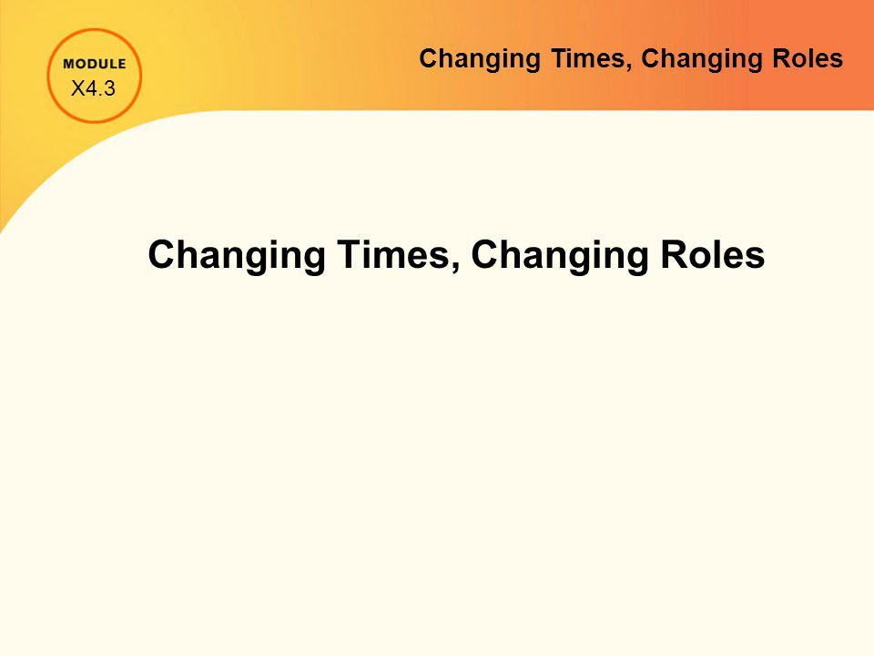 Changing Times, Changing Roles X4.3 Changing Times, Changing Roles
