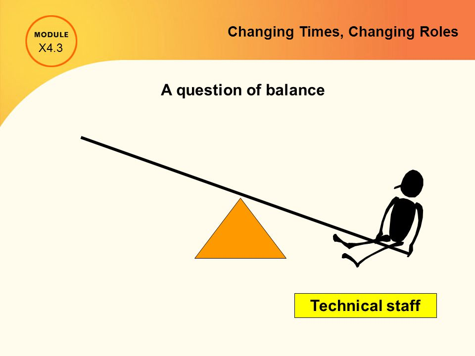 A question of balance Technical staff X4.3 Changing Times, Changing Roles