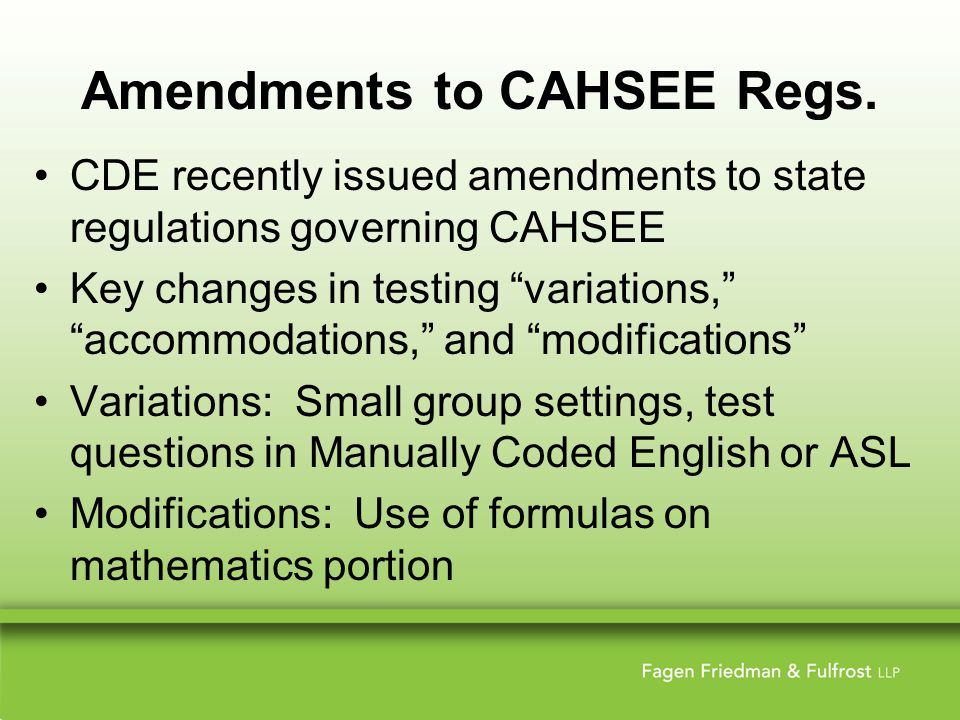 Amendments to CAHSEE Regs.