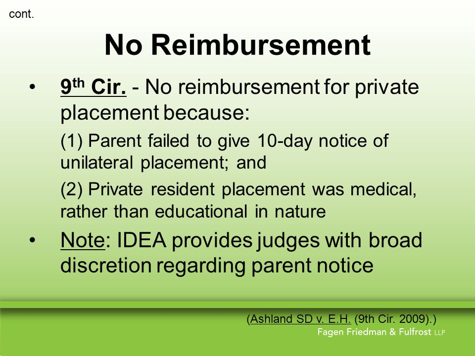 No Reimbursement 9 th Cir.