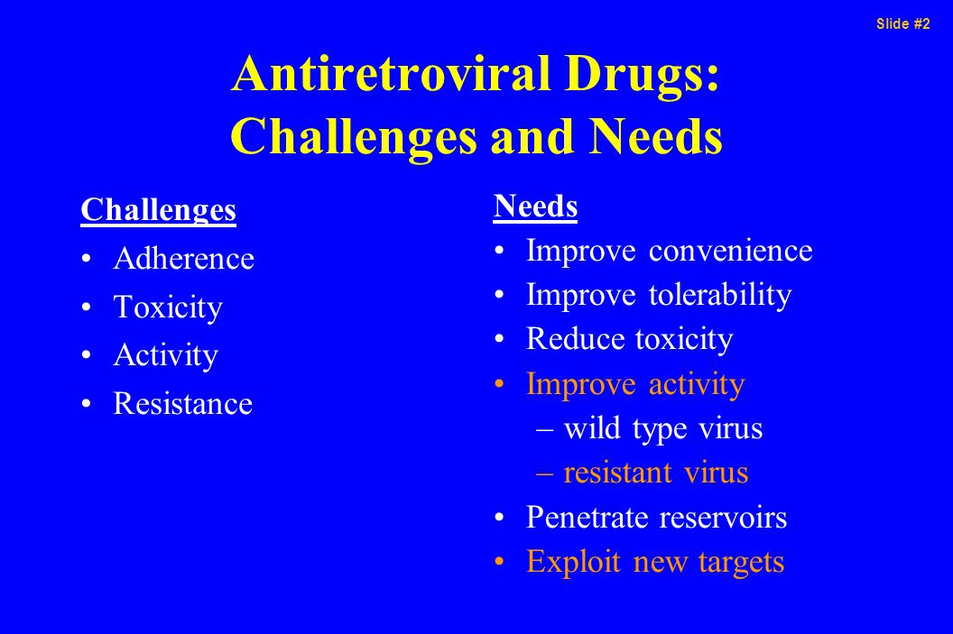 Slide #2 Antiretroviral Drugs: Challenges and Needs Challenges Adherence Toxicity Activity Resistance Needs Improve convenience Improve tolerability Reduce toxicity Improve activity –wild type virus –resistant virus Penetrate reservoirs Exploit new targets