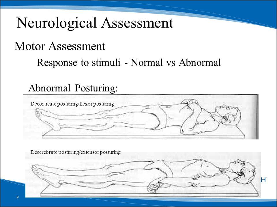 9 Neurological Assessment Motor Assessment Response to stimuli - Normal vs Abnormal Abnormal Posturing: Decorticate posturing/flexor posturing Decereb