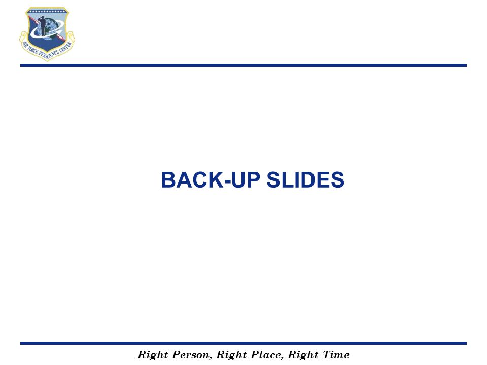 Right Person, Right Place, Right Time BACK-UP SLIDES