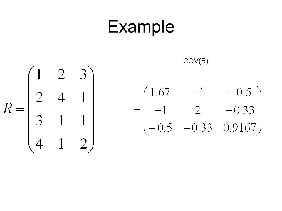Example COV(R)