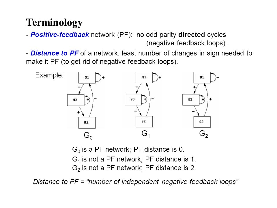 - Distance to PF of a network: least number of changes in sign needed to make it PF (to get rid of negative feedback loops).